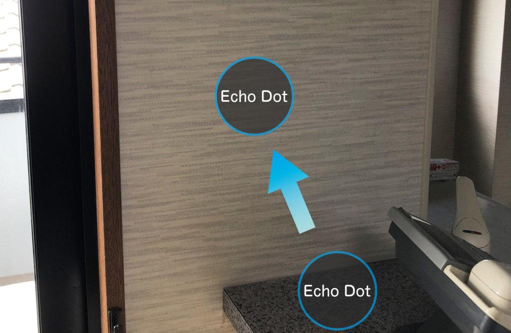 Echo Dotカウンターから壁掛けイメージ